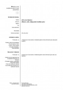 Currículum Vitae Europeo - European CV