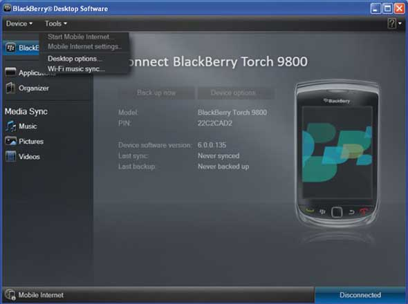 Tethering smartphone blackberry