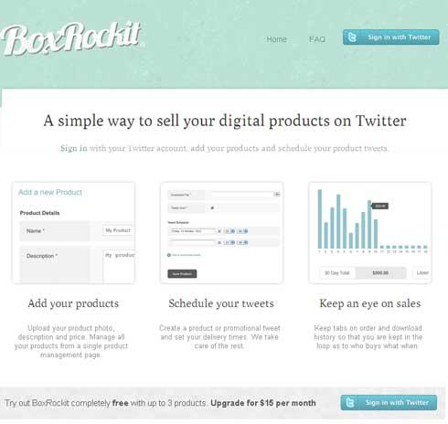 Servicio web para vender sus productos digitales a través de Twitter: BoxRockit